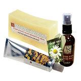 《菠丹妮》金盞花手工皂150g(長方型)+洋甘菊醒膚露50ml+金盞花深層護膚乳50g