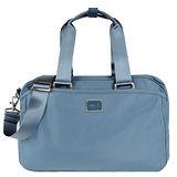 agnes b. 雙槓金屬LOGO尼龍旅行袋(小/灰藍)