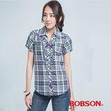 BOBSON 格子長版襯衫-紫色