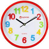 KINYO圓形立體彩字10吋掃秒靜音掛鐘(CL-128)