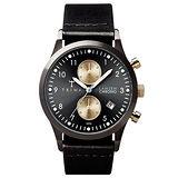 TRIWA Lansen Chrono系列 北歐雅痞紳士時尚腕錶-黑