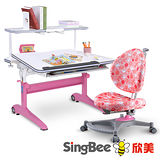 SingBee欣美 酷炫L桌+136椅+皇家上層書架