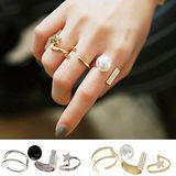 【PS Mall】韓版珍珠水鑽五角星三件套戒指 (G1789)