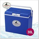 【日本鹿牌 CAPTAIN STAG】日本製 冷冰箱 30L冰桶.保冰保溫.可當露營椅/藍 M-8179