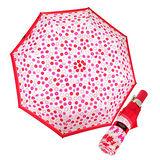 COACH 米色C Logo粉紅小碎花自動開啟晴雨傘