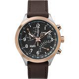 TIMEX 飛返計時指南運動腕錶-玫瑰金框黑x深咖啡皮帶
