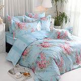 義大利La Belle《薔薇戀曲-藍》雙人四件式防蹣抗菌舖棉兩用被床包組