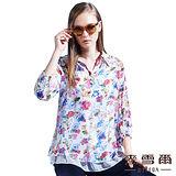 【麥雪爾】襯衫領花繪雪紡多層次襯衫