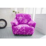 【Osun】一體成型防蹣彈性沙發套、沙發罩圖騰款(華麗典雅-紫色玫瑰1人座)