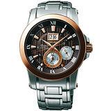 SEIKO Premier 人動電能尊爵萬年曆錶(咖啡x玫瑰金-41mm) 7D56-0AB0C
