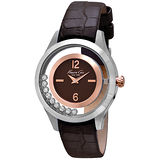 Kenneth Cole 和緩旋律氣質皮帶腕錶-銀框深咖啡