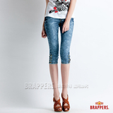 【BRAPPERS】女款 新美腳Royal系列-女用彈性七分雪花褲-淺藍雪花