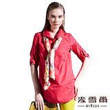 【麥雪爾】襯衫領花卉絲巾長版襯衫