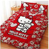 LUST寢具 【Hello Kitty 與Bear】雙人薄被套6X7尺、日本卡通合法授權、台灣製