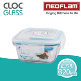 【韓國NEOFLAM】CLOC耐熱微波烤箱玻璃保鮮盒-320ML(正方型)