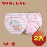 (購物車)【MOM AND BAB】粉灰條紋小象三層防水 學習褲-兩入組(6~14公斤)