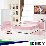 【KIKY】粉紅波莉浪漫主義雙人四件床組(床頭+床底+床邊櫃+衣櫃)