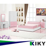 【KIKY】粉紅波莉浪漫主義雙人五件床組(床頭+床底+床邊櫃+衣櫃+化妝台)