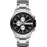 A│X Armani Exchange 移動世界三眼計時腕錶-黑x銀/46mm AX2152