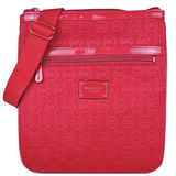 MICHAEL KORS 鋪棉LOGO壓紋扁斜背包(紅)