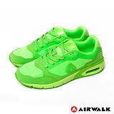 AIRWALK(男) - 情侶雙彩 超彈氣墊雙料輕量慢跑運動鞋 - 彩螢綠