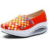 【Maya easy】增高搖擺鞋 帆布面料 豬皮內裡 氣墊鞋底 舒適走路鞋-美式手繪風格-小彩格款-桔色