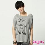 SOMETHING 印花寬版圓領T恤-女-麻灰
