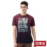 EDWIN 街景LOGO後染短袖T恤-男-紫褐