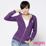 SOMETHING 邱比特不修邊連帽外套-女-葡紫