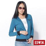 EDWIN 條紋連帽拉T外套-女-藍色