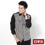 EDWIN 千鳥格配色剪接長袖襯衫-男-灰色