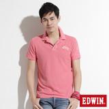 EDWIN 後染基本短袖POLO衫-男-桃紅