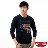 5th STREET 學院風印繡厚棉T恤-男-丈青色