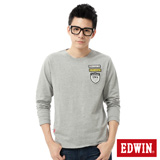 EDWIN 徽章貼布繡長袖T恤-男-麻灰色