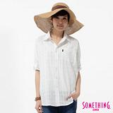 SOMETHING 格紋寬鬆襯衫-女-白色