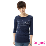 SOMETHING 蕾絲貼袋後染七分袖T恤-女-藍色