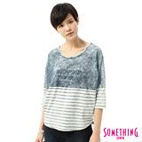 SOMETHING 條紋剪接七分袖T恤-女-雪花藍