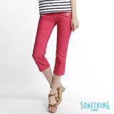 SOMETHING 雙袋蓋七分牛仔褲-女款(珊瑚紅)