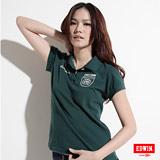 EDWIN 503馬蹄繡花POLO衫-女-苔綠色