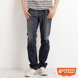 5th STREET 美式粗線窄直筒牛仔褲-男-酵洗藍