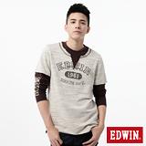 EDWIN 印花假兩件設計T恤-男-灰卡其