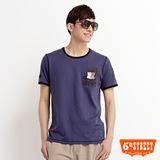 5th STREET 盾牌素印花T恤-男-灰藍