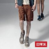 EDWIN 鈕扣式褲耳休閒馬褲-男-咖啡