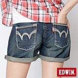 EDWIN MISS BT袋口繡花牛仔短褲-女-中古藍