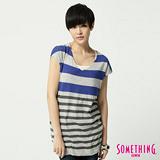 SOMETHING 配色線條線衫-女-藍色