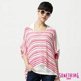 SOMETHING 線條寬版圓領線衫-女-桃紅色