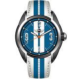MINI Swiss Watches 雷霆奔馳 原創設計腕錶(藍白/38mm) MINI-80