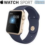 Apple WATCH SPORT 42mm/42公釐 A 金色鋁金屬錶殼 午夜藍色運動型錶帶【含螢幕保護貼+專用錶套】(MLC72TA/A)
