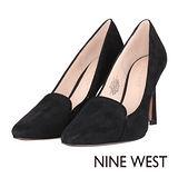 NINE WEST--尖頭絨面高跟鞋--沉穩黑