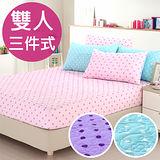 【CERES】吸濕排汗點點3D立體舖棉壓花雙人三件式床包/三色任選(B0589-M)